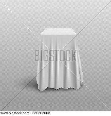 White Curtain Cover Hiding Cube Shape Object Beneath