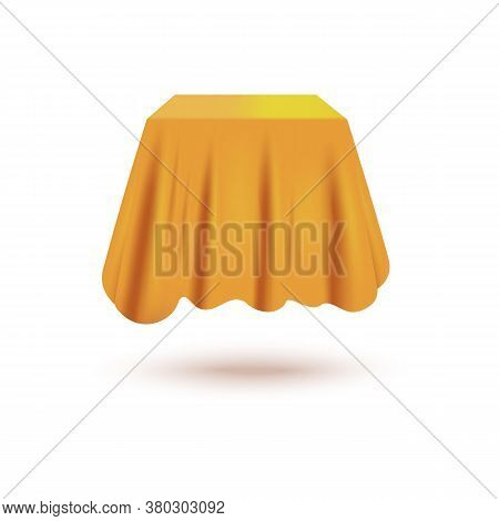 Silk Curtain Cover Hiding Cube Shaped Mystery Object Floating In Air