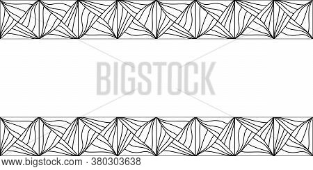 Seamless Abstract Border. Hand Drawn Geometric Tile . Vector Black And White Elements.