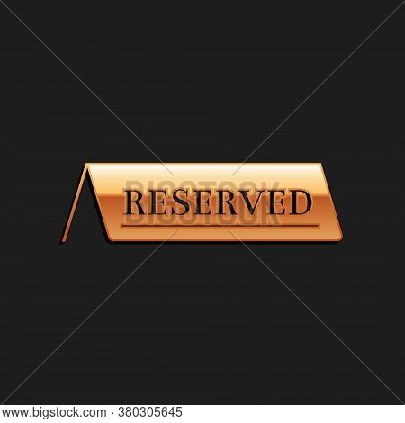 Gold Reserved Icon Isolated On Black Background. Long Shadow Style. Vector