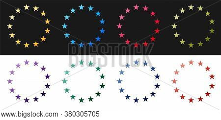 Set Flag Of European Union Icon Isolated On Black And White Background. Eu Circle Symbol. Waving Eu