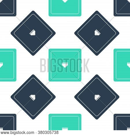 Green Ethernet Socket Sign. Network Port - Cable Socket Icon Isolated Seamless Pattern On White Back