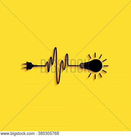 Black Wire Plug And Light Bulb Icon Isolated On Yellow Background. Plug, Lamp And Cord In The Form O