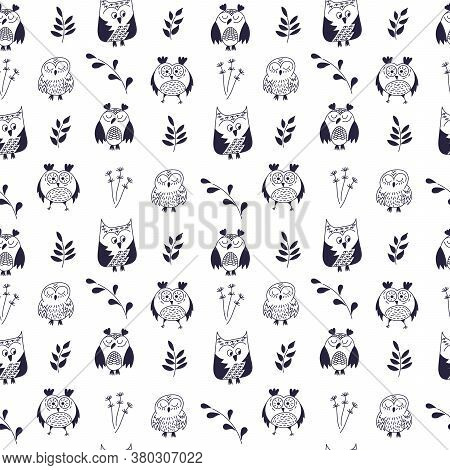 Owl Seamless Pattern. Hand Drawn Vector Illustration. Different Kinds Of Owl Doodle.
