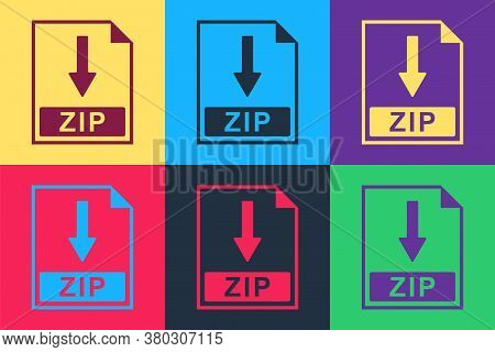 Pop Art Zip File Document Icon. Download Zip Button Icon Isolated On Color Background. Vector