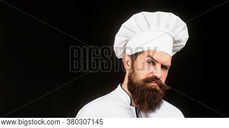 Bearded Male Chefs Isolated On Black. Cook Hat. Confident Bearded Male Chef In White Uniform. Seriou