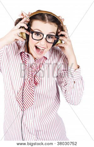 Cute Female Business Nerd Singing With Headphones