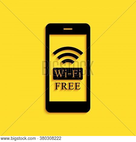 Black Smartphone With Free Wi-fi Wireless Connection Icon Isolated On Yellow Background. Wireless Te