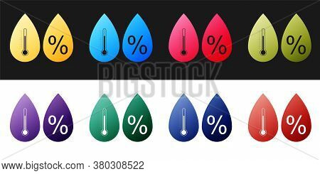 Set Humidity Icon Isolated On Black And White Background. Weather And Meteorology, Thermometer Symbo