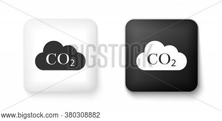 Black And White Co2 Emissions In Cloud Icon Isolated On White Background. Carbon Dioxide Formula Sym