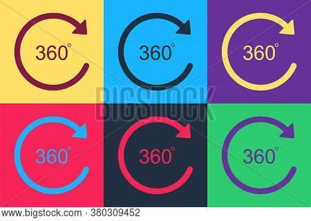 Pop Art Angle 360 Degrees Icon Isolated On Color Background. Rotation Of 360 Degrees. Geometry Math