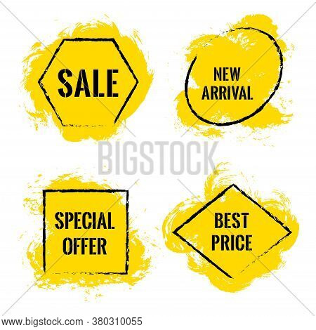Yellow Marketing Banners For Summer Sale Vector Collection. Advertising Isolated Banners, Geometric