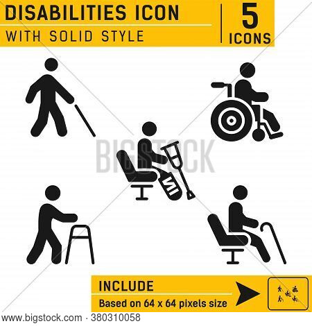 People Disabilities Vector Icon. People Disabilities Vector Icon With Solid Style. Vector Icon For W