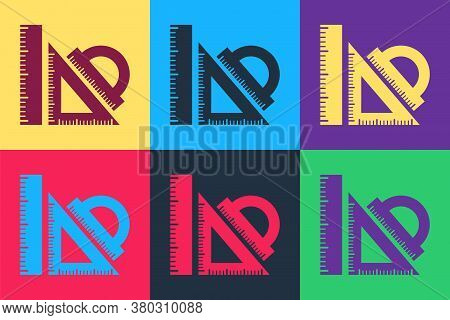 Pop Art Set Ruler, Triangular Ruler And Protractor Icon Isolated On Color Background. Straightedge S