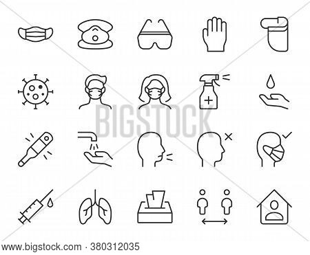 Coronavirus Prevention Line Icon. Minimal Vector Illustration With Simple Outline Icons As Surgical