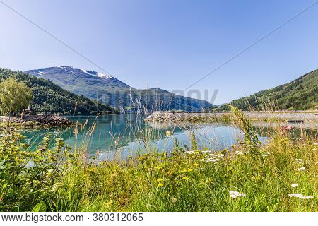 Landscape With Nordfjord In Norway, Nordfjord Offers One Of The Finest Norwegian Scenery.