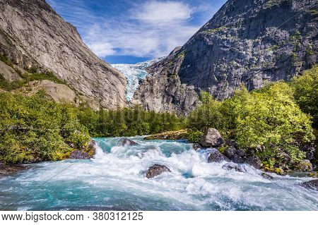 Briksdal Glacier In Norway Wel Known Arm Of The Large Jostedalsbreen Glacier In Oldedalen Valley In