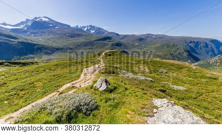Viewpoint Nedre Oscarshaug At National Scenic Route Sognefjellet Between Skjolden And Lorn In Sogn O