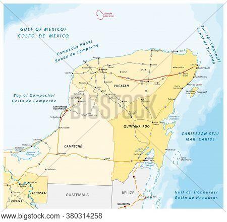 Road And Administrative Vector Map Of The Yucatan Peninsula