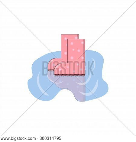 Rubber Pink Boots In A Puddle Llustration On White Backdrop. Vector Illustration Object. Family Back