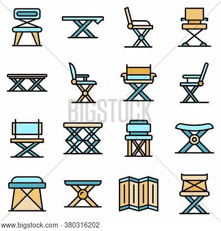Folding Furniture Icons Set. Outline Set Of Folding Furniture Vector Icons Thin Line Color Flat On W