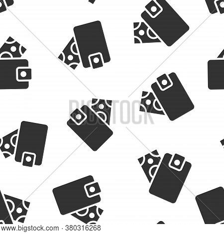 Wallet Icon In Flat Style. Purse Vector Illustration On White Isolated Background. Finance Bag Seaml