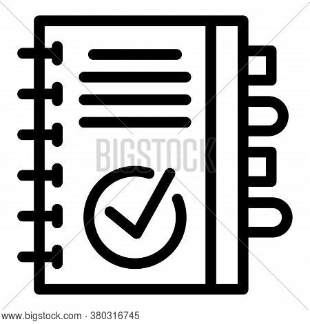 Notepad Icon. Outline Notepad Vector Icon For Web Design Isolated On White Background