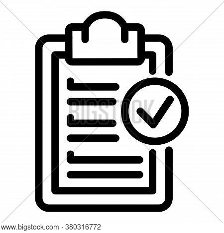 Done Clipboard Icon. Outline Done Clipboard Vector Icon For Web Design Isolated On White Background