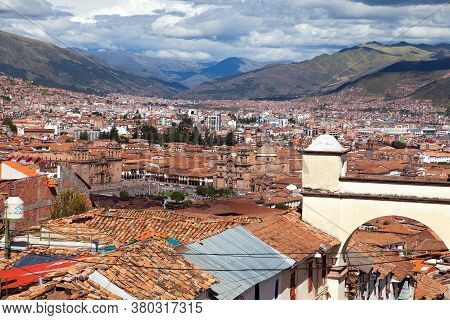 Beautiful View Of Hisric Centre Of Cusco Or Cuzco City, Red Roofs Peru
