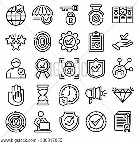 Reliability Icons Set. Outline Set Of Reliability Vector Icons For Web Design Isolated On White Back