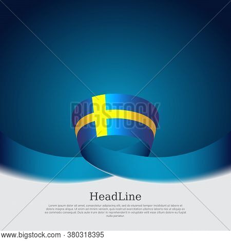 Background With Flag Of Sweden. Sweden Flag With Wavy Ribbon On A Blue White Background. Vector Desi