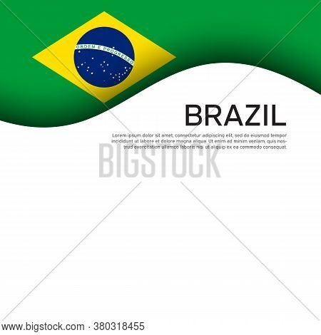 Creative Wavy Background With Brazil Flag For Holiday Card Design. Brazil National Poster, Banner. S