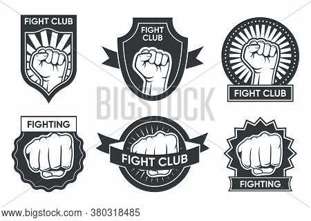 Fight Club Logo Set. Vintage Monochrome Emblems With Arm And Clenched Fist, Medal And Ribbon. Vector