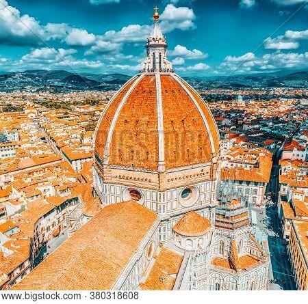 Above View Santa Maria Del Fiore (cattedrale Di Santa Maria Del Fiore) In Florence, Most Famous Of T