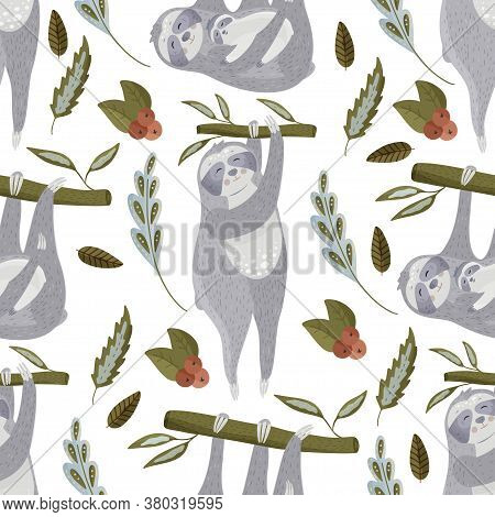 Cute Sloth Cartoon Vector Seamless Pattern In A Flat Style. Slow Lazy Animal Family Nature Kid Print