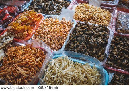 Dried Squid, Shellfish And Seafood On Fish Market In Hongkong, China