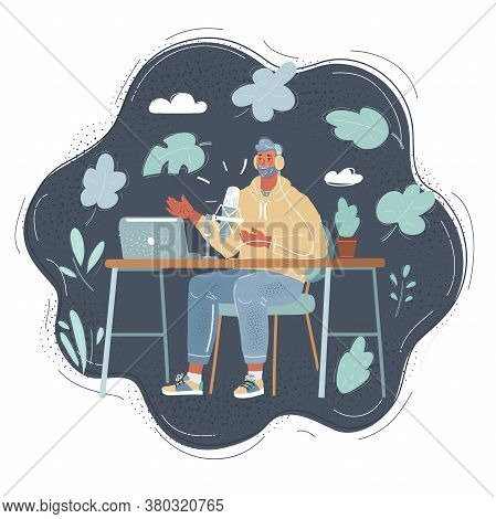Vector Illustration Of Man Recording Content For Her Lifestyle Blog Vlog, Modern Businesswoman Using