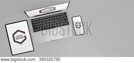 Mock Up Digital Device On White Background With Digital Tablet, Smartphone And Laptop