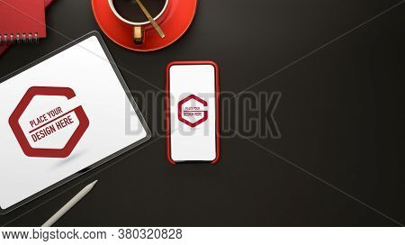 Mock Up Digital Devices With Smartphone And Tablet On Black Table