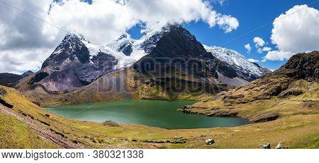 Ausangate Trek Trekking Trail,  Moutain With Lake And Glacier, Ausangate Circuit, Cordillera Vilcano