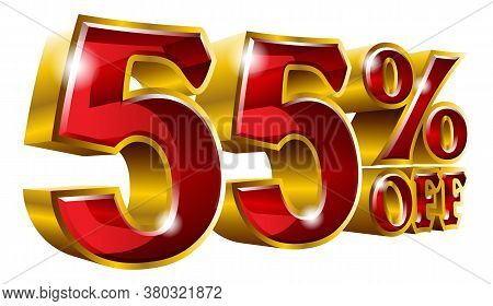 55% Off - Fifty Five Percent Off Discount Gold And Red Sign. Vector Illustration. Special Offer 55 %