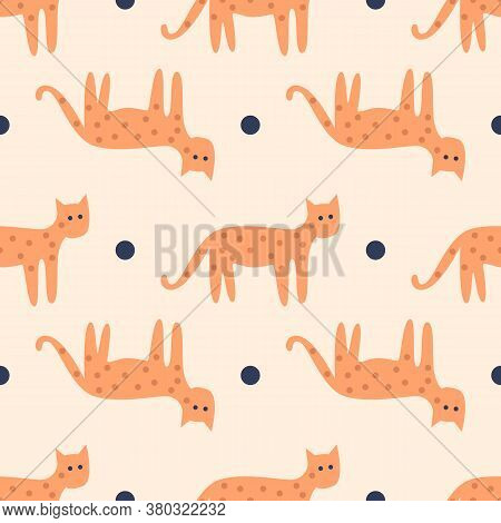 Cats Seamless Pattern. Vector Seamless Pattern Of Cat With Soft And Beautiful Pastel Colors. Pattern