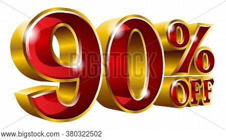 90% Off - Ninety Percent Off Discount Gold And Red Sign. Vector Illustration. Special Offer 90 % Off