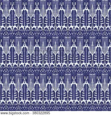 Seamless Indigo Washed Stripe Texture. Blue Woven Boro Linen Cotton Dyed Effect Background. Japanese
