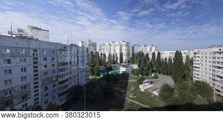 Kharkiv, Ukraine - August 10, 2020: The Courtyard Between The Kharkiv Soviet-built Apartment Blocks