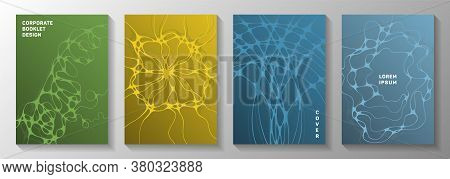 Biotechnology And Neuroscience Vector Covers With Neuron Cells Structure. Flexible Curve Lines Block