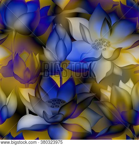 Lotus Buds And Flowers Seamless Vector Pattern. Water Lilly Nelumbo Aquatic Plant Illustration. Sacr