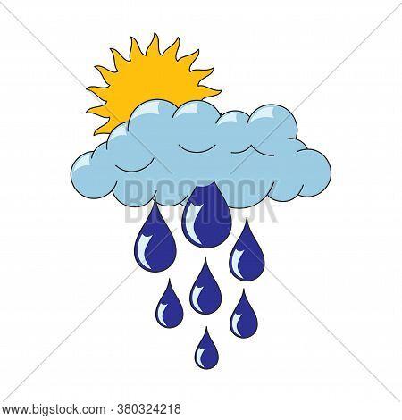 Rainy Cloud With Thunder And Lightning, Cartoon Funny Serious Face, Sun Behind, Hand Drawn Doodle, S