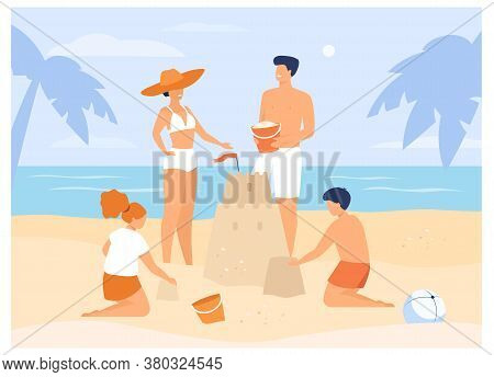 Summer Family Activities Concept. Children, Mom And Dad Making Sandcastle On Beach. For Tropical Res