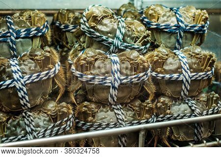 Hairy Crabs For Sale On Fish Market, Hongkong